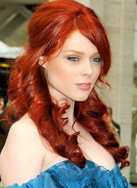 7 Deep glowing red hair with large spiral curls and waves