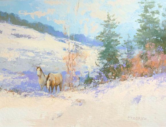 Mustangs in Winter by J. M. Brodrick