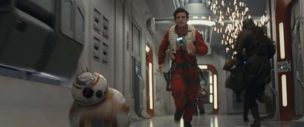 Star Wars: The Last Jedi L to R: BB-8 and Poe Dameron (Oscar Isaac)Photo: Film Frames Industrial Light & Magic/Lucasfilm©2017 Lucasfilm Ltd. All Rights Reserved.