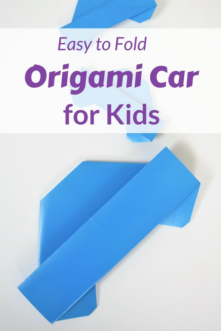 """blue origami car on white background with words """"Easy to Fold ORigami Car For Kids"""""""