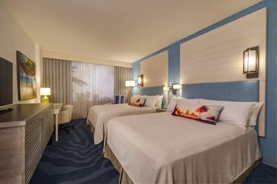 The simple, but spacious guest rooms of the Universal Orlando Sapphire Falls resort