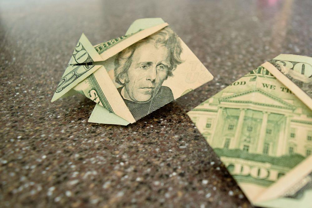 2 fish folded from twenty dollar bills