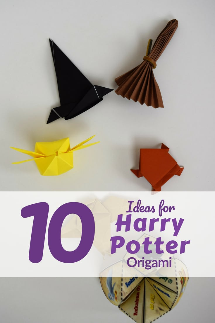 Fold these 10 Harry Potter Origami ideas at when you need an inexpensive classroom halloween party idea.  These range from pre beginner to intermediate level.   The frog is great for making and then jump racing as a kids activity.  #favemom #origamifoodie #harrypotter #halloween #origami #haloweenorigami