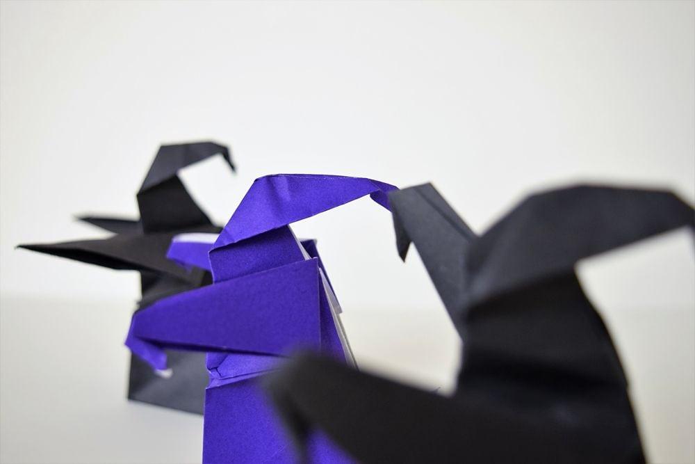 black and purple origami dementors