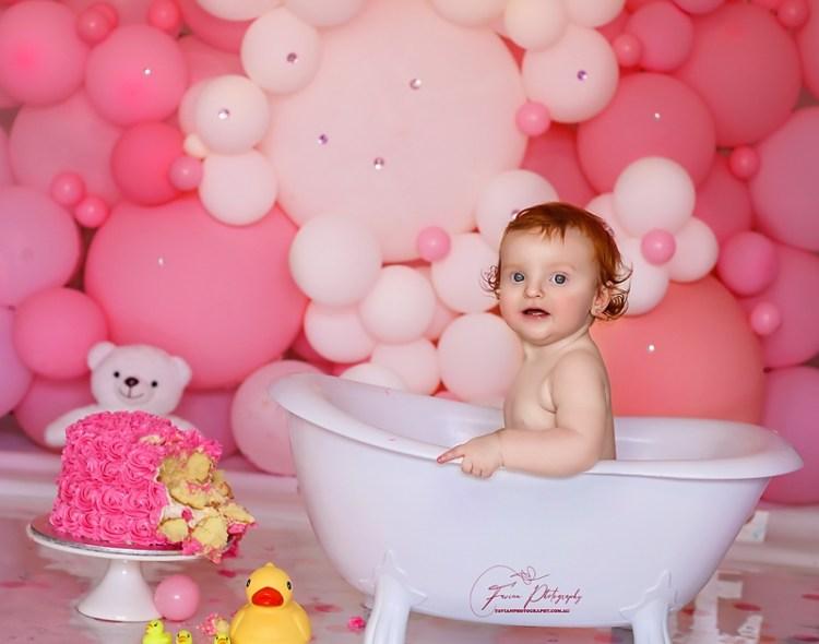 Baby girl Birthday Cake smash photography Brisbane