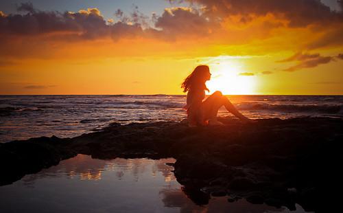 art, beauty, clouds, girl, photography, seashore, sunset