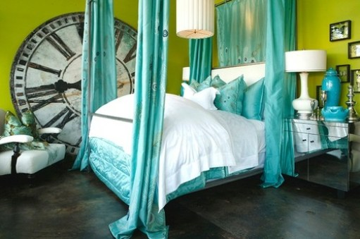 bed, bedroom, bright, clock, green, interior design