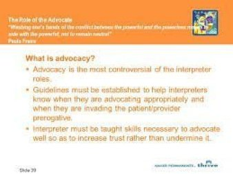 Advocate and when to