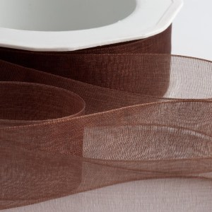 7mm Brown Organza Ribbon 50M