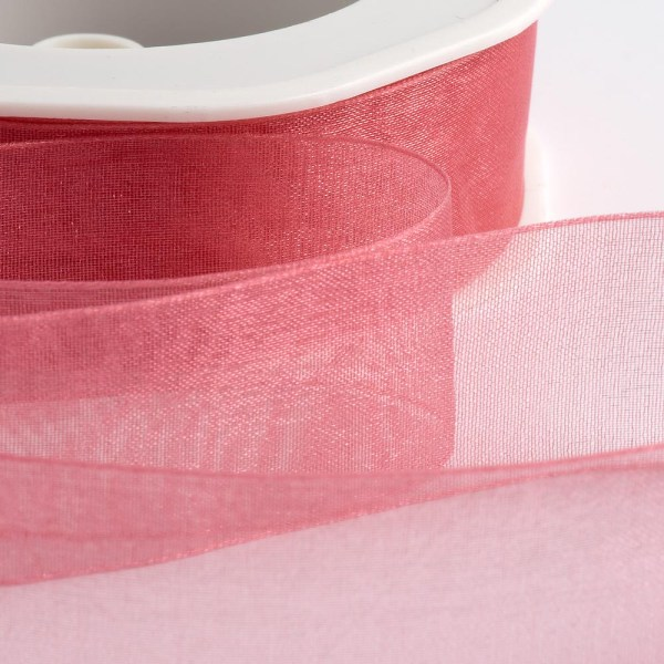 7mm Rose Pink Organza Ribbon 50M