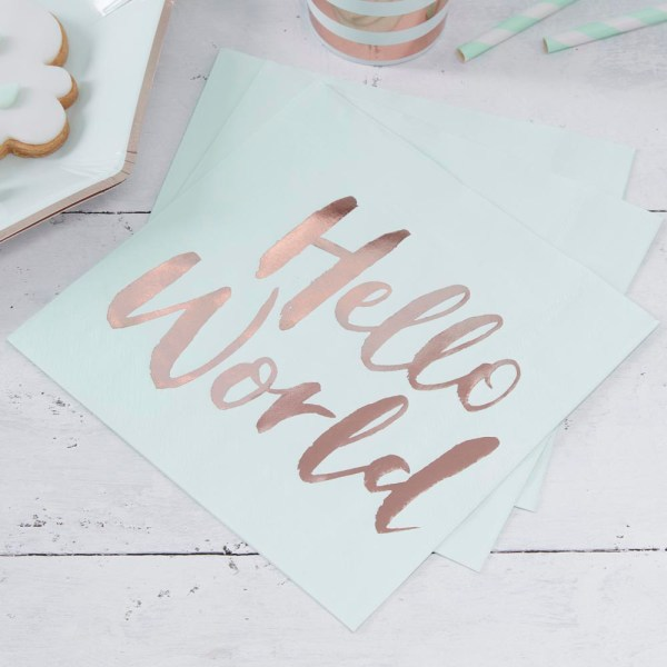 Mint & Rose Gold Paper Napkins
