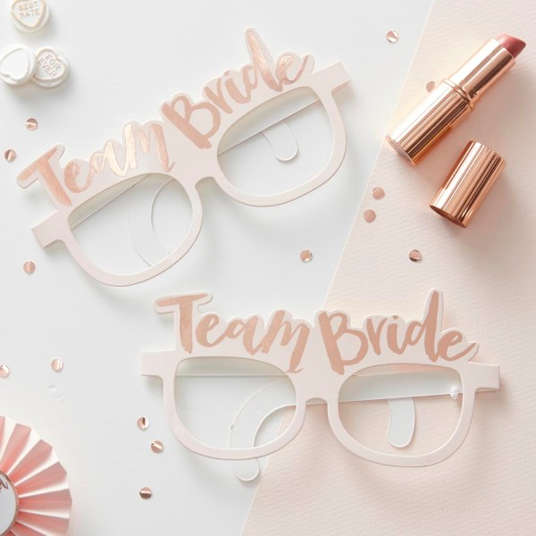 Pink & Rose Gold Team Bride Hen Party Glasses
