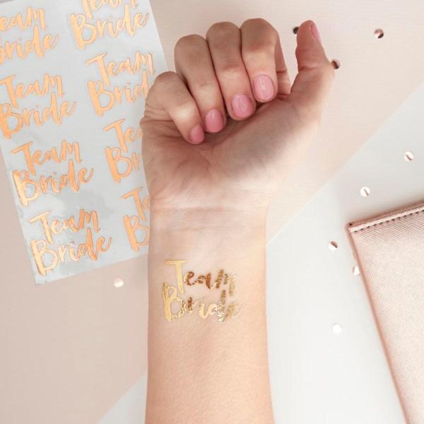 Rose Gold Team Bride Temporary Tattoos