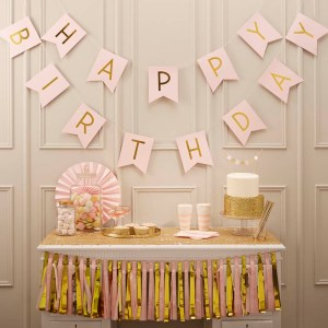 Pink Happy Birthday Foiled Bunting