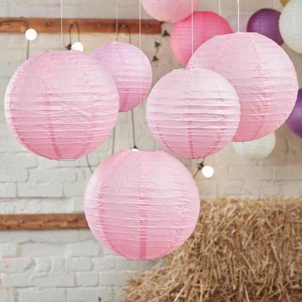 Baby Pink Paper Lantern Decorations
