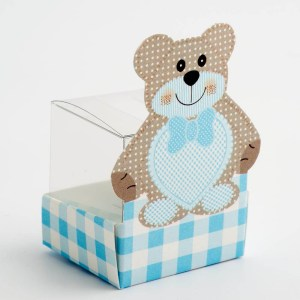 Blue Teddy Bear with Transparent Cube Insert Favour Box