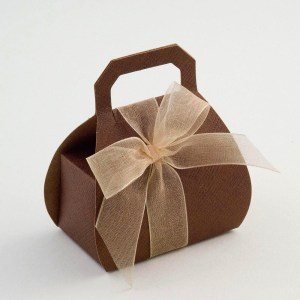 Brown Silk Handbag Favour Box