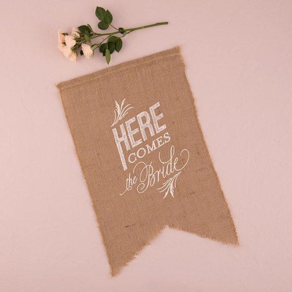 Burlap 'Here Comes The Bride' White Sign