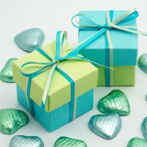 Celeste Blue & Light Green Silk Square Box and Lid