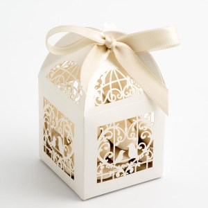Filigree Bird Cage Favour Box - Pearlised Ivory