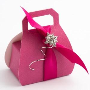 Fuchsia Pink Silk Handbag Favour Box