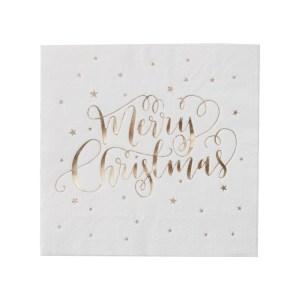 Gold Foiled Merry Christmas Napkins