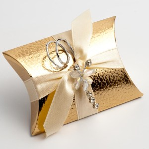 Gold Pelle Pillow Favour Box