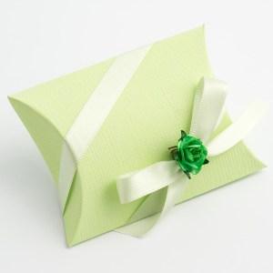 Green Silk Pillow Favour Box