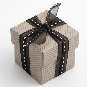 Grey Linea Square Favour Box with Lid