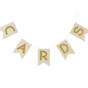 Ivory & Gold Cards Wedding Bunting
