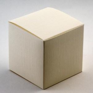 Ivory Silk Cube Favour Box - 100MM