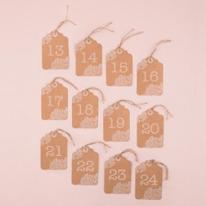 Large Kraft Tag with Lace Print Table numbers 13-24