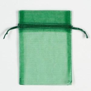 Medium Bottle Green Organza Favour Bag