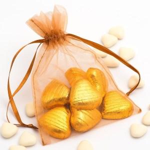 Medium Caramel Organza Favour Bag