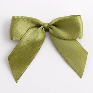 Moss Green Satin Bows 12 Pack