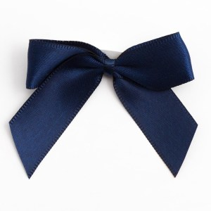 Navy Blue Satin Bows 12 Pack