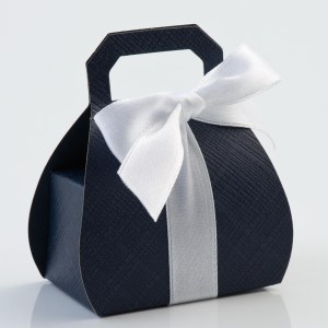 Navy Silk Handbag Favour Box