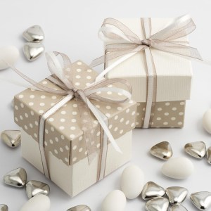Pearl Grey Polka Dot & White Silk Square Box and Lid