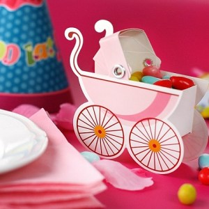 Pink Pram Favour Boxes x 10