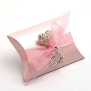 Pink Satin Pillow Favour Box