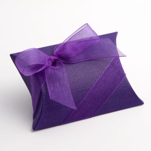 Purple Silk Pillow Favour Box