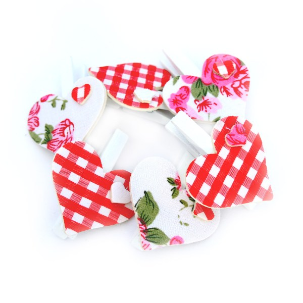 Red Floral and Check Heart Pegs
