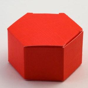 Red Silk Hexagonal Favour Box
