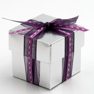 Silver Silk Square Favour Box with Lid