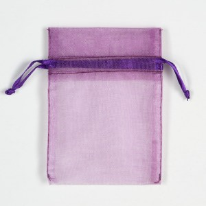 Small Aubergine Organza Favour Bag