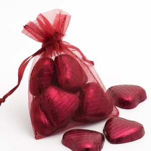 Small Burgundy Organza Favour Bag