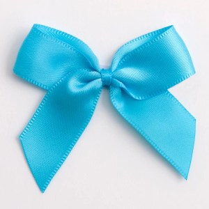 Turquoise Satin Bows 12 Pack