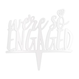 We're So Engaged Cake Topper - White