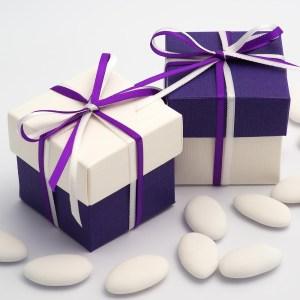 White & Purple Silk Two Tone Square Box and Lid
