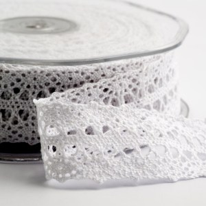White Cotton Border Lace Ribbon 22mm x 10M